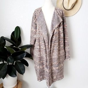 Lucky Brand 330 Long Tribal Aztec Duster Cardigan